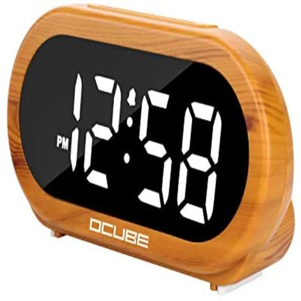 OCUBE Digital Dread Clock, Bedside Clock with 5 Now not mandatory Dread Sounds, 0-100% Dimmer, Adjustable Dread Quantity, Straightforward to Exercise, USB Charger, Extensive Digit Point to, Snooze, 12/24Hr, Mains Powered(Wooden Grain)