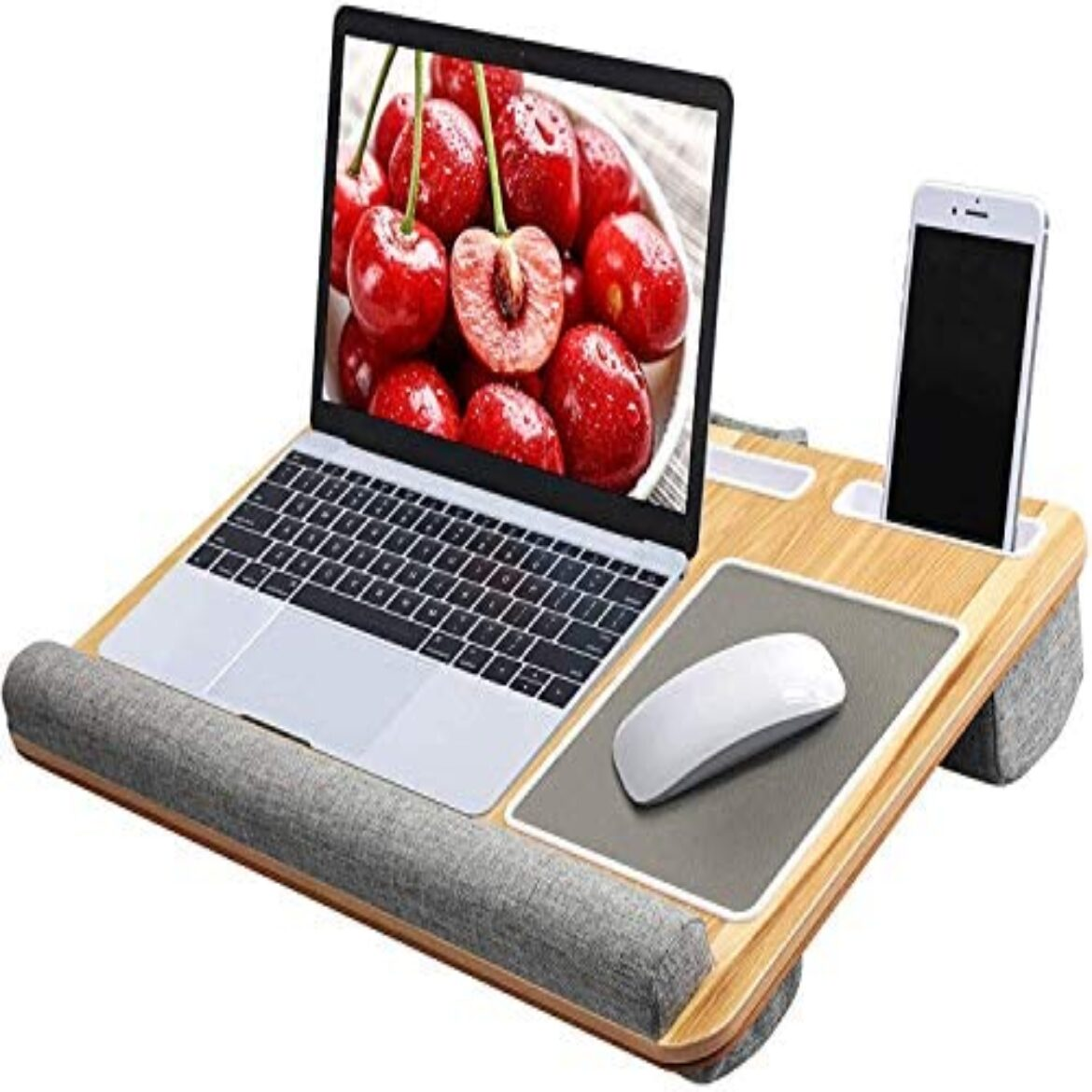 HUANUO Notebook computer Tray with Cushion, In-constructed Mouse Pad & Wrist Pad for Notebook up to 17″ with Tablet, Pen & Phone Holder