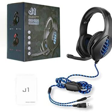 Rejea PS4 Gaming Headset, with 3.5mm PlugCable, Volume Administration, On/Off Change, Silent Administration, for PlayStation 3, PS4, Mac, LED Lights for PC, Computer, Blue
