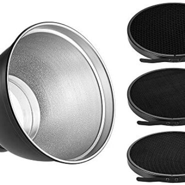 Andoer 7inch Bowens Mount Reflector with 10 ° 30 ° 50 ° Grid for Bowens Strobe Flash Gentle