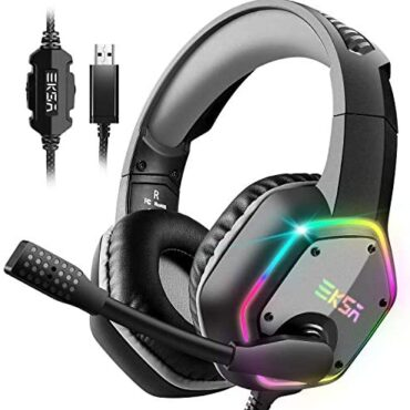 EKSA USB Gaming Headset PC Headset with 7.1 Surround Sound Headset with Noise Cancelling Mic, RGB Light Headphones for PC, PS4 PS5 Console, Laptop computer, Mac