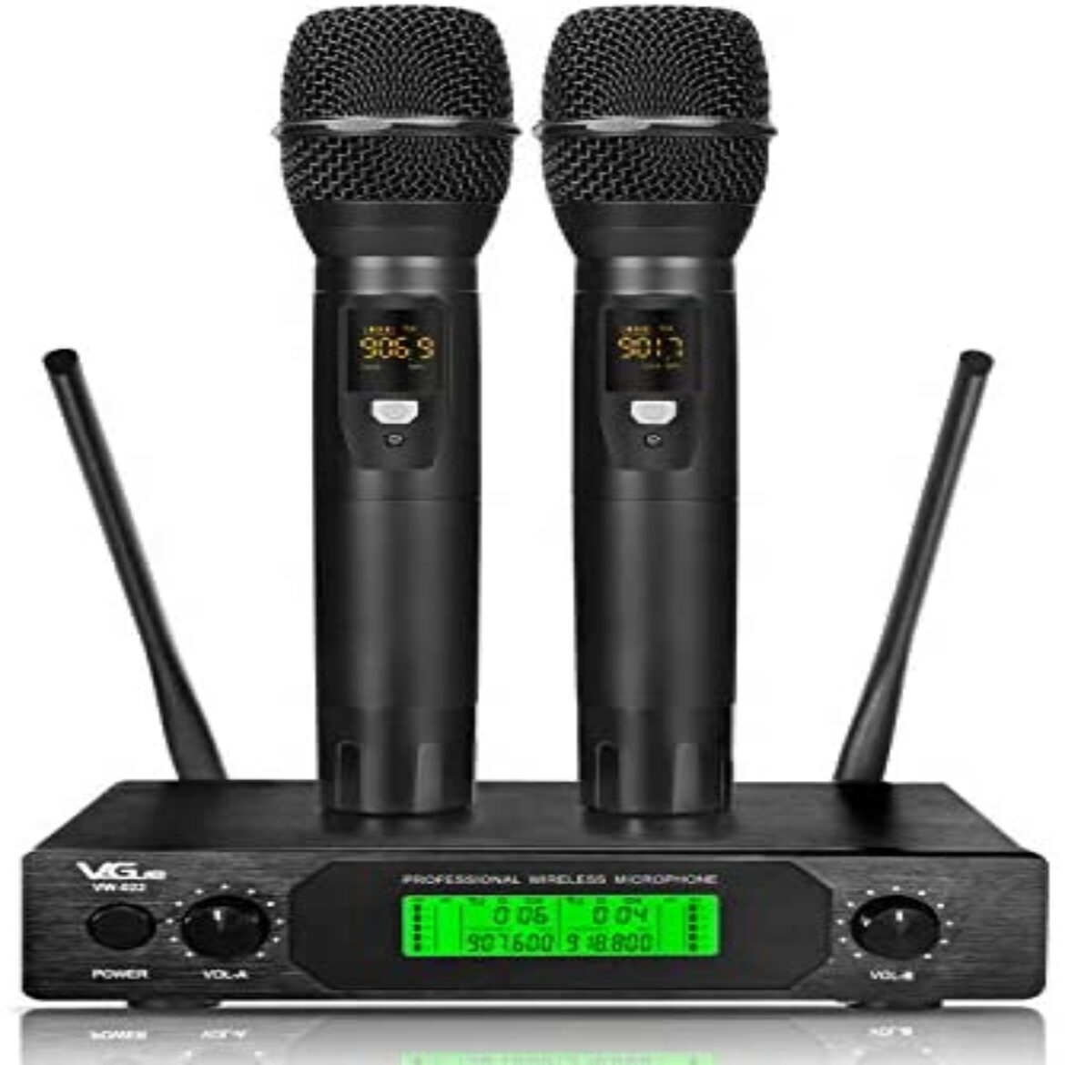 UHF Wireless Microphone, Official Twin Channel Handheld Wireless Mic Machine with 2 mics, 200 toes Long Fluctuate,Finest for Karaoke, Church,Weddings, Occasions