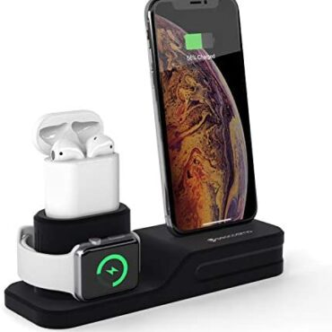 seacosmo 3 in 1 Charging Stand Care for minded with Apple iWatch Sequence 5/4/3/2/1, Silicone Stand for iPhone Airpods, Docking Region for iPhone 11/11 Skilled Max/XR/Xs/X/8/7/SE 2020/6/Plus, Shadowy