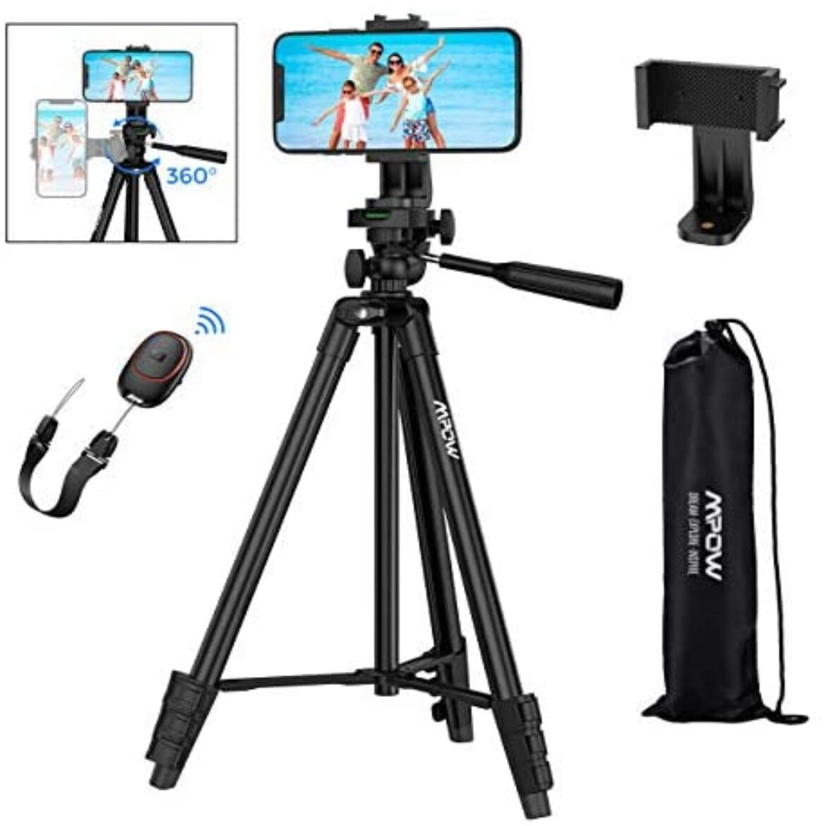 """Mpow Cell phone Tripod, Fifty three"""" Extendable Digicam Tripod with Bluetooth 5.0 Remote & 360° Rotatable Cell phone Holder & Elevate Procure, Light-weight Budge back and forth Cell phone Tripod Esteem minded with GoPro/iPhone 11/X/8/Galaxy A51"""