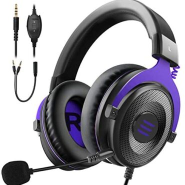EKSA Gaming Headset PC Headset Surround Sound Headset with Tender Memory Earmuffs for PS4 PS5 Detachable Noise Cancelling Microphone Volume Preserve a watch on for Xbox One S/X PS4 PC Mac Laptop Swap