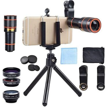 APEXEL 4 In 1 Clip-On Cellphone Lens Equipment,12X Telescope Digicam Lens+198 Degree Fisheye Lens + 0.63X Huge Angle&15X Macro Lens with Mini Tripod for iPhone Samsung Huawei and most Android Smartphone, Sad