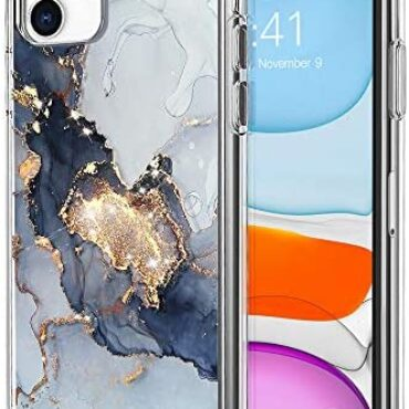 Marble Bling Glitter Case for iPhone 11 – Slim Sure Bumper with Double Printing TPU Lend a hand – Shockproof Versatile Case for iPhone 11 6.1 Lunge(Shadowy Marble)