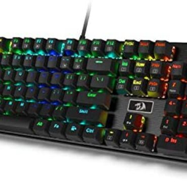 Redragon K556 RGB LED Backlit Wired Mechanical Gaming Keyboard, Plump Keys Anti-Ghosting with Solid Heavy Aluminum Contaminated, 104 Identical earlier Keys with Mushy Tactile Brown Switches, US Structure