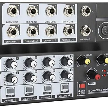 HY-01 8-channel Audio Mixer, 8-in 2-out Stereo Channel Reverb Free Configuration External Sound Cards with USB/Audio Interface Dim for Recording DJ Stage Karaoke Music Utility