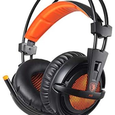 SADES [UPGRADED VERSION] A6 USB Gaming Headset 7.1 Surround Sound PC Headphones with Noise Cancelling Microphone, Respiration LED Lights for Laptops, Computer – Orange