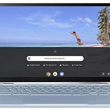 ASUS C433 Elephantine HD 14 Poke Touchscreen ChromeBook Flip (Intel M3-8100Y Processor, 64 GB eMMC Storage, 4 GB RAM, Chrome OS), Silver/Blue