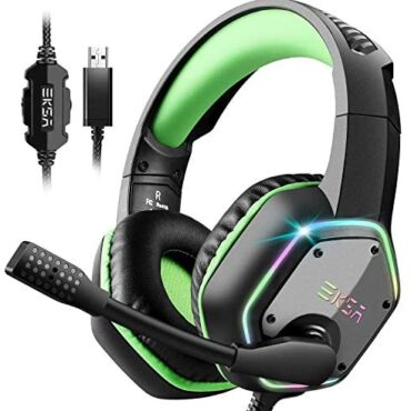 EKSA USB Gaming Headset PC Headset with 7.1 Encompass Sound Headset with Noise Cancelling Mic, RGB Gentle Headphones for PC, PS4 PS5 Console, Notebook computer and extra