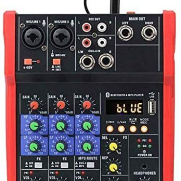 Moveable Sound Card,4 Channel USB Bluetooth Audio Interface Adjustable Audio Mixer Sound Card, Treble and Bass Adjustment, Built-in Reverb Attain
