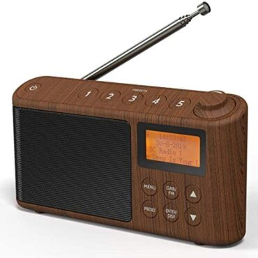 DAB/DAB+ & FM Radio, Mains and Battery Powered Portable DAB Radios Rechargeable Digital Radio with USB Charging for 15 Hours Playback (Wood Lift out)