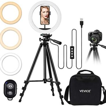 VEVICE 10″ Selfie Ring Light Tripod Stand Phone Holder for Dwell Circulation Makeup Desktop Led Digital camera Ring Light for YouTube Video TikTok Devour minded with iPhone Android
