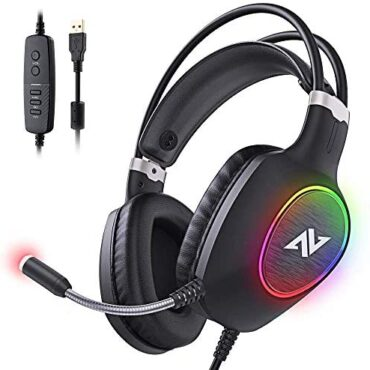 ABKONCORE Gaming Headset with Noise-cancelling Microphone, Light-weight PS4 Headset with 50mm Speaker Driver, Chilly RGB LED Light, Gaming Headphone with Stress-Relieving Ear Cushion for PS4, PC,Laptop computer