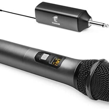 """Wi-fi Microphone, TONOR UHF Steel Cordless Handheld Mic Procedure with Rechargeable Receiver, 1/4"""" Output for Amplifier, PA Procedure, Singing Karaoke Machine, 200ft (TW-620)"""