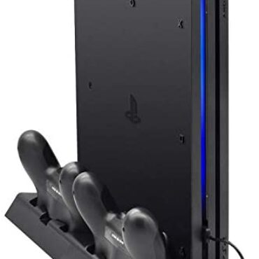 FASTSNAIL Vertical Stand Expedient with PS4 Authentic with Cooling Fan, Controller Charging Station Expedient with Ps4 Authentic, Charger for DualShock 4 Controllers with LED Charging Indicator