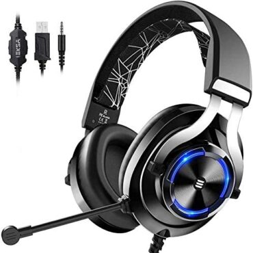 EKSA Gaming Headset for Xbox One PC Headset with Noise Cancelling Mic, RGB Gentle & In-Line Alter, Gaming Headphones for PC, Notebook computer, PS4, PS5, Nintendo Swap, Xbox One (S/X)