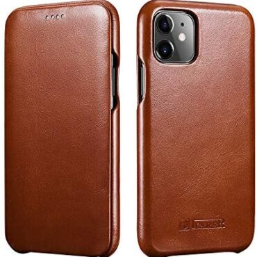 ICARER iPhone 11 Leather Case, Suited Vintage Leather Flip Folio Opening Quilt in Curved Edge Make Aspect Originate E book Style Case Quilt for Apple iPhone 11 6.1 Stir (Brown)