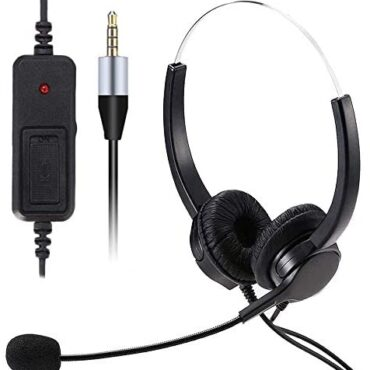 3.5mm Jack Wired Bilateral Headphone, HUET Cell Phone Headset with Noise Cancelling Mic, Acceptable for Skype PC Mobile Phone and Most Smartphones, Name Center Place of work, Certain Chat, Extremely Comfort
