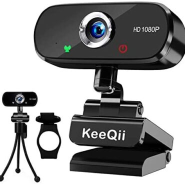 KeeQii Webcam for PC,1080P HD Webcam with Microphone,USB Mosey and Play Webcam for Video Call,Conference,Training