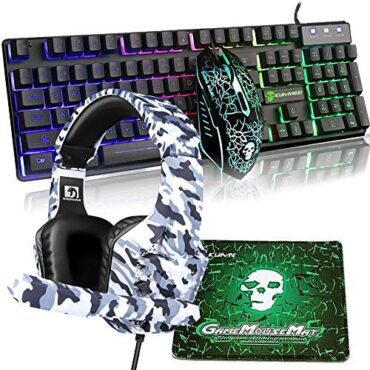4-in-1 Rainbow Backlit Gaming Keyboard + 2400DPI 6 Buttons Optical Rainbow LED USB Gaming Mouse + Backlit PS4 Headphones/Xbox one Headsets with mic + Gaming Mouse Pads for PC Notebook computer Computer