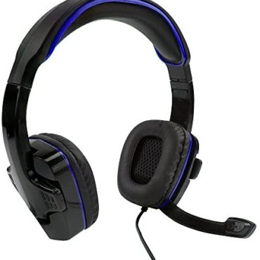 SF1 Stereo Gaming Headset for Ps4 / 5, Xbox One, Series X / S, Nintendo Swap, PC, Foldable Microphone, Adjustable Headscarf, In-Line Volume and Silent Controls – Dim and Blue