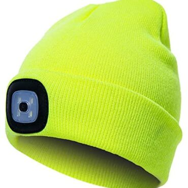 OMOUP Beanie Hat with Gentle, USB Rechargeable LED Beanie Hat with 3 Brightness Stages, Hands Free Torch Hat Warm Shimmering Unisex Winter Knit Hat Cap for Working Camping Canine Strolling