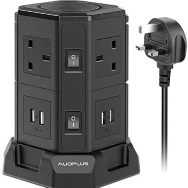 AUOPLUS 3M Tower Extension Lead Energy Strip, Vertical Extension Cord with 6 Arrangement 4 USB Slots(4.5A) Charging Location, Multi Crawl Energy Extender Socket for Desk Home Office, 2500W/10A Sunless