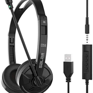 USB Headset & 3.5mm Jack 2 In 1 Cell phone Headset with Microphone Noise Cancelling & Audio Controls, PC Headphone for Gaming Skype Call Center Space of work Laptop