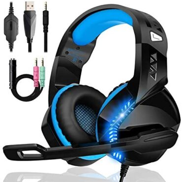 Gaming Headset for Xbox One, PS4 Headset with Mic Noise Cancelling Over Ear PC Headphones Stereo Encompass with 3.5mm Jack LED Mild