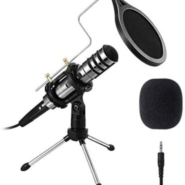 EIVOTOR PC/Phone Microphone, 3.5mm Expert Condenser Microphone Walk and Play, Recording Microphone with Mic Stand for Karaoke,Youtube, MSN, Fb, Skype Online Chatting, Gaming, Podcasting