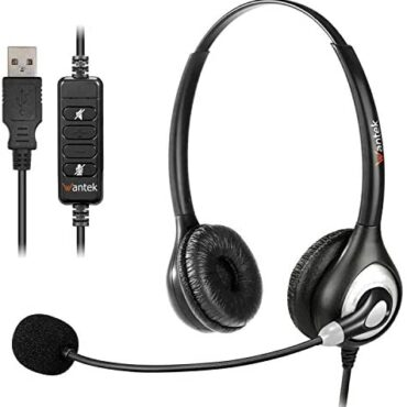 USB Headset with Microphone Noise Cancelling, Stereo PC Headphone for Computer Computer SoftPhone Skype Webinar Workplace Industry Call Center, Audio Controls, Sure Chat, Ultra Comfort