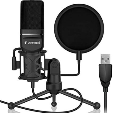 PC Microphone, Yanmai Educated USB Condenser Microphone for PC/Laptop Rush & Play with Double-layer Pop Filter and Tripod Stand for Studio Recording, Broadcasting and Gaming