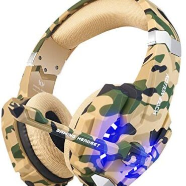 BENGOO Stereo Gaming Headset for PS4, PC, Xbox One Controller, Noise Cancelling Over Ear Headphones with Mic, LED Light, Bass Surround, Soft Memory Earmuffs