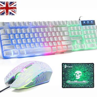 Gaming Keyboard And Mouse Objects UK Layout,Lexon tech Rainbow LED Backlit Wired Keyboard and Mouse Combo,Mechanical Feeling USB Gamer Keypad with 2400DPI 6 Buttons Optical Rainbow Gaming Mouse+ Mousepad