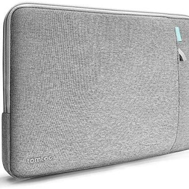 tomtoc 360° Protective Computer Sleeve designed for Dell XPS 15, 14″ HP EliteBook | 14″ HP Circulation Computer, Pocket e book Shockproof Case Tablet with Accent Pocket, Gray