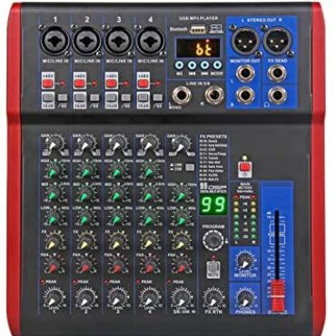 AFYH Stay Mixers, Studio Mixing Desks 6 Channel DJ Controller with 99DSP Reverb cease Bluetooth 5.0 USB Mixer for karaoke PC recording condenser mic DJ Mixer