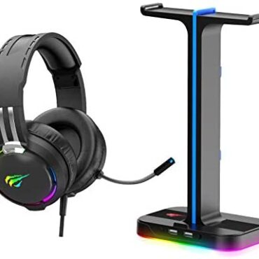 havit [2-in-1] RGB Wired Gaming Headset & Headphone Stand Net 22 situation, RGB Headphone Stand Hanger with Twin USB 2.0 Inputs for Twin Gaming Headphones, Dusky (TH650A)
