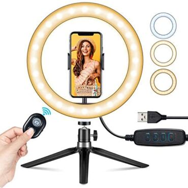 10″ LED Ring Light with Stand & Cell phone Holder, Selfie Light with 3 Modes Coloration Temperature 3000-6000K, 10 Brightness, Circle Light Equipment for YouTube Video Makeup, Tiktok Reside Streaming, Videoconference