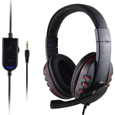 Gaming Headset with Mic for Xbox One/PS4, Over-Ear Noise Isolation Bass Gaming Headphones with Microphone, Surround Sound, Volume Control (Murky+Crimson)
