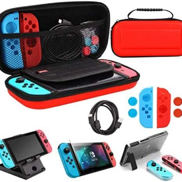 Whasoo Case for Nintendo Switch, 10 in 1 Switch Storage Case encompass Form C Cord, Conceal Protector, Pleasure Con Covers, Sport Card Slot Holder, TPU Quilt, Thumb Caps (Purple)