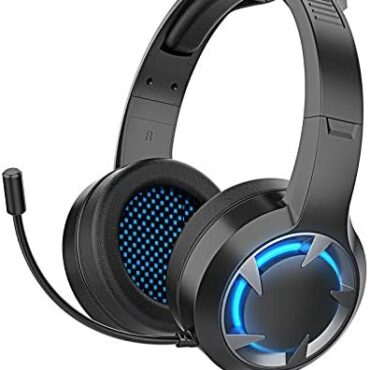 Gaming Headset for Xbox One,Transportable and Noise Cancelling LED Light Over-Ear Gaming Headphones With Versatile Microphone 3.5mm Jack for PS4, PC,Computer laptop,Tablet,CD Player,Cell Telephones(Sad)