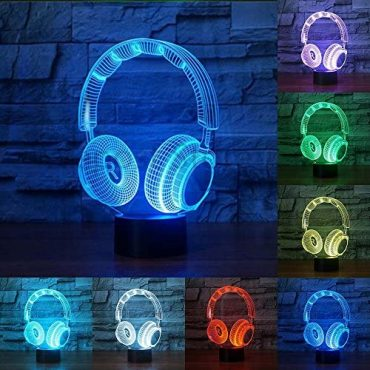 RUMOCOVO® Novelty Sparkling DJ Headphone Form 3D Night Light Phantasm Lamp Earphone Lighting Home Decor Kids Gifts Home Space of enterprise Decorations Lamp