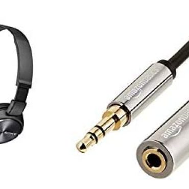 Sony ZX310AP On-Ear Headphones Well real with Smartphones, Tablets and MP3 Devices – Steel Shadowy & Amazon Fundamentals – Stereo Audio Extension Cable (3.5mm Male to Female, 3.6m Connector)