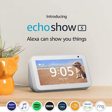 Certified Refurbished Echo Show 5 | Compact shiny show with Alexa, White