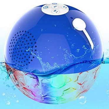 Bluetooth Wi-fi Speaker Portable with Intellectual LED Lights, Twin Drivers Floating Pool Speaker, Certain Hands Free Call, IPX7 Waterproof Bluetooth Speaker for Hot Bath Spa Swimming Shower Birthday party Camping
