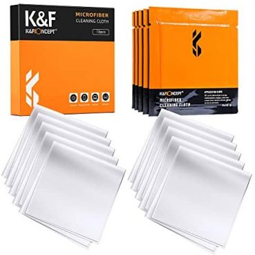 K&F Thought Microfiber Cleaning Cloths – 10 Pack Lens Cleaning Fabric for Cleaning Camera Lenses, Glasses, Displays, Cameras, Eyeglasses, LCD TV Displays, Pills Washable