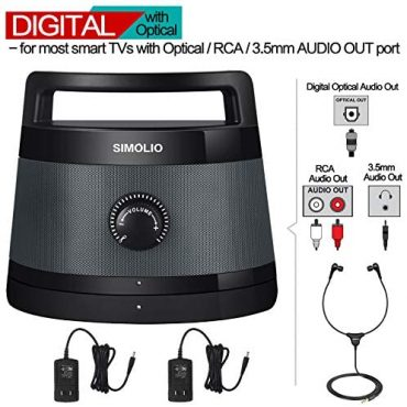 SIMOLIO Digital Wireless TV Audio system with Optical, Wireless To hand Speaker with Listening to Assisted, Transportable Wireless Audio system for TV, Instruct Interpret TV Audio system for Arduous of Listening to, with 2 AC Adapters